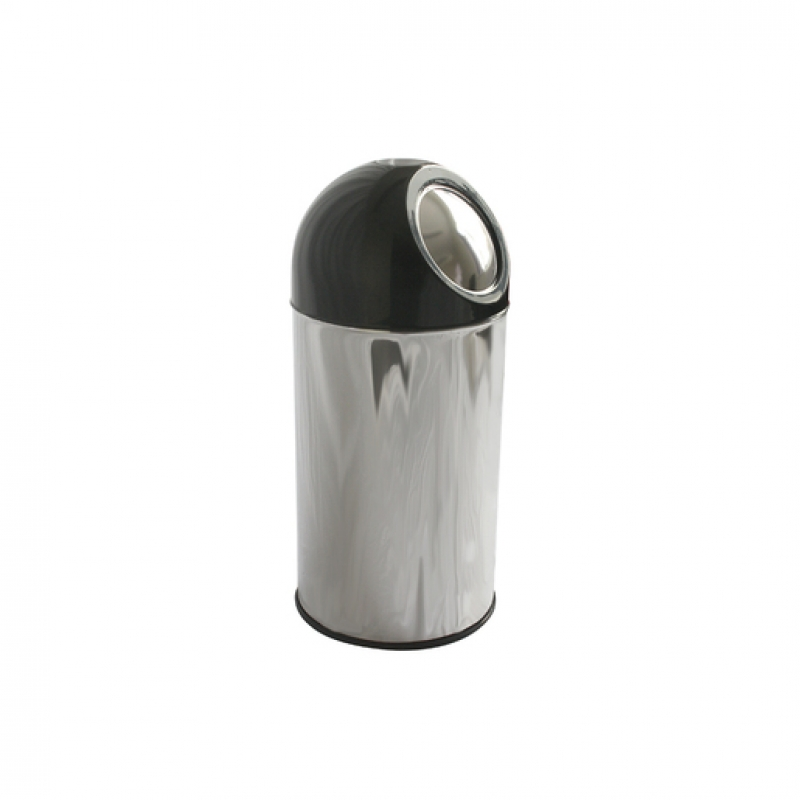 Push Bin 55 ltr s/s with Black Dome (Sold Singly)