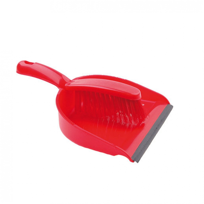 Dustpan And Brush Set Stiff Brush Red (Sold Singly)