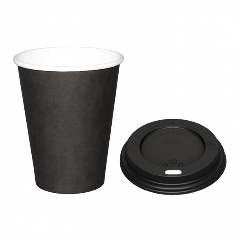 Special Offer  Fiesta Black 225ml Hot Cups and Black Lids (Pack of 1000)