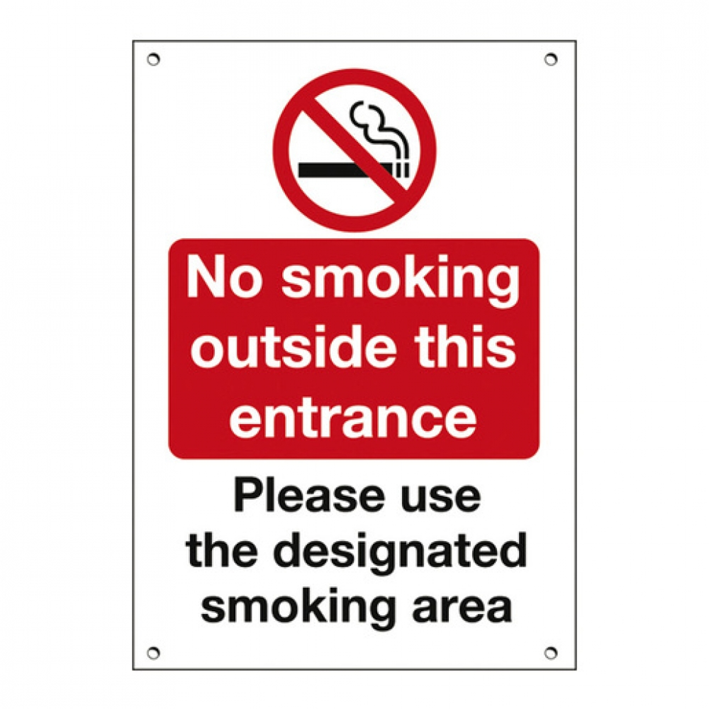 Outside Sign No Smoking Use The Designated Area (Sold Singly)