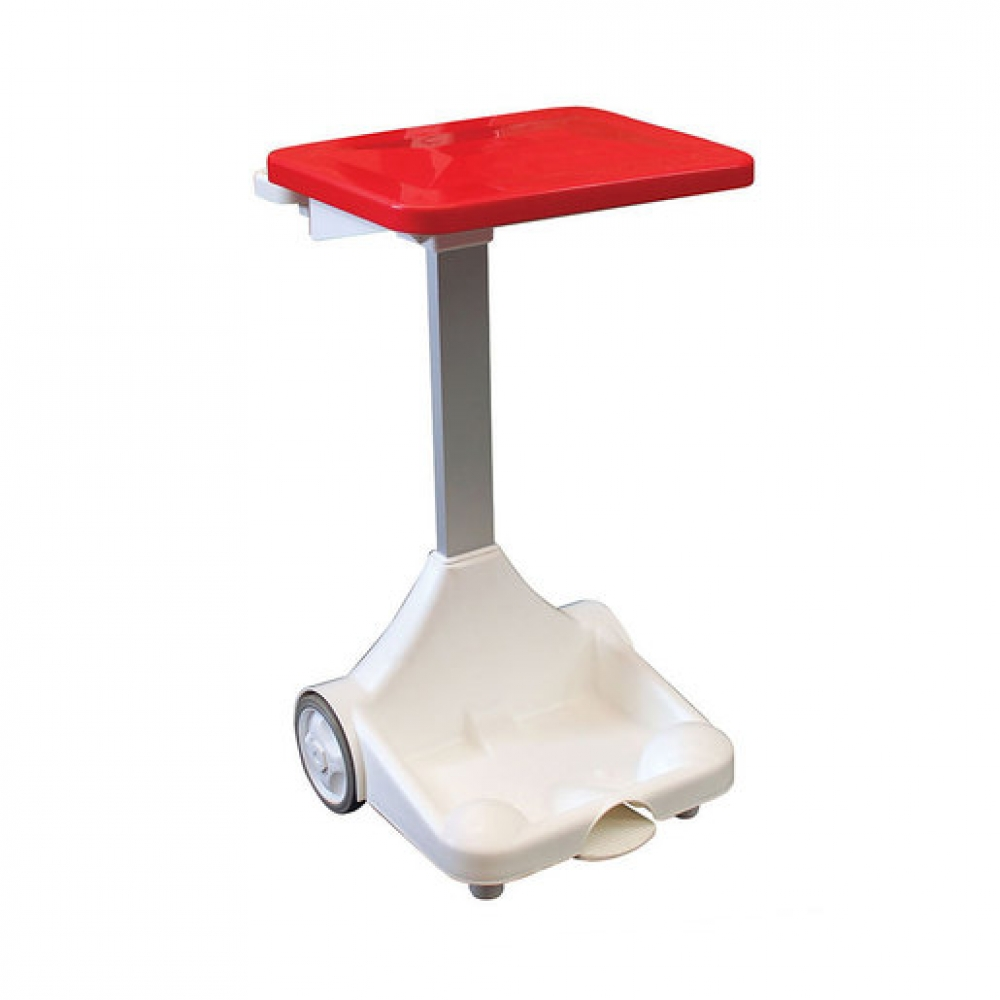 Plastic Sack Holder With Wheels Red Lid (Sold Singly)
