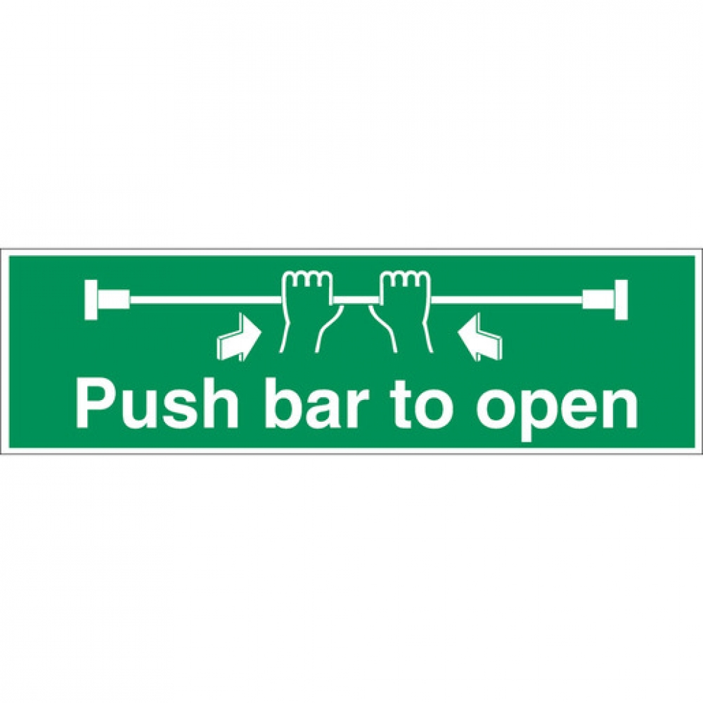 Safety Sign Push Bar To Open (Sold Singly)