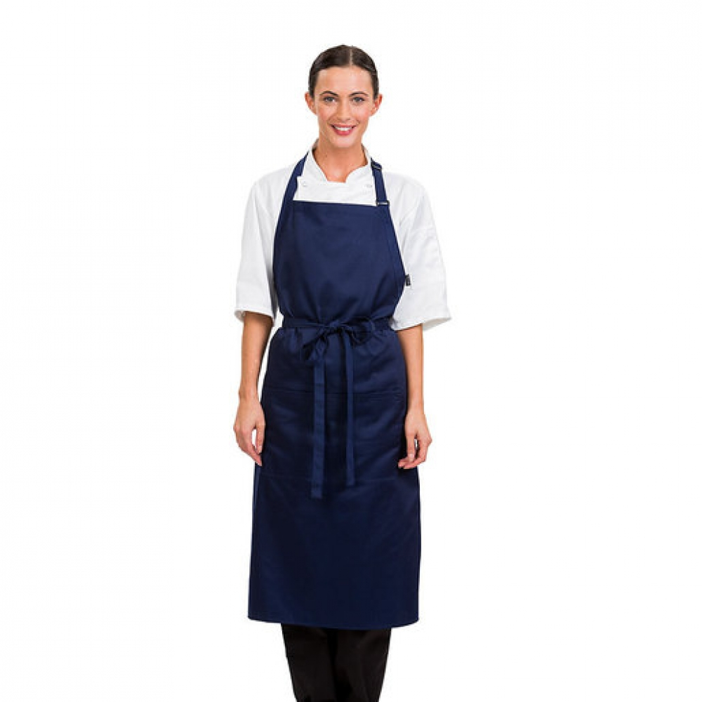 Brigade Adjustable Neck Bib Apron Navy Blue (Sold Singly)