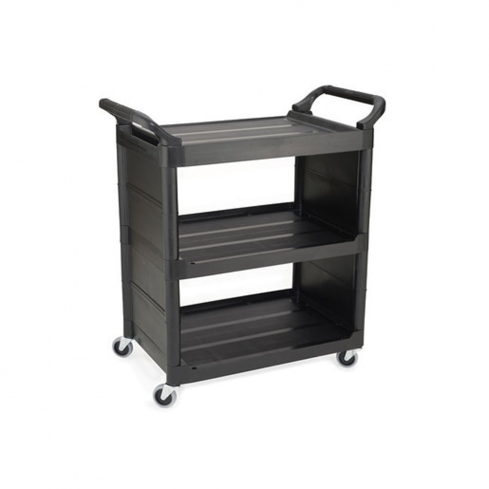 Utility Service Cart Black With Solid End (Sold Singly)